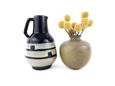 Vintage Vases Made Of Ceramic In Black Mustard Yellow Beige Lot 2 Https