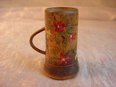 Norwegian Norway Wooden Hand Painted Miniature Cup Mug Tankard 2 inch