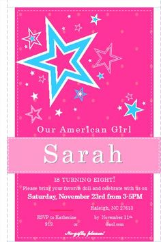 American Girl birthday party invitation. Contact me for pricing!