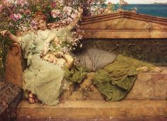 In A Rose Garden by Sir Lawrence Alma-Tadema  (1836-1912)