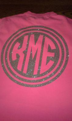 Glittered Monogram Circle Tshirt by SmoothCreationz on Etsy