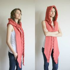 Coral Wool Hooded Cabled Long Scarf Cowl Under от denizgunes Poncho Mantel, Hooded Scarf, Knitting Accessories, Long Scarf, Long Hoodie, Shawls And Wraps, Pulls, Cable Knit, Hand Knitting