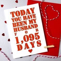 Days You've Been My Husband Card – Personalised Anniversary Card – Card for…