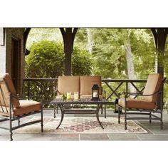 Hampton Bay Niles Park Cashew 4-Piece Patio Deep Seating Set-NS4-AHH01520 - The Home Depot