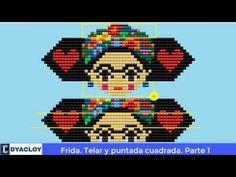 Frida en Mostacilla ►Telar y Puntada cuadrada 😱😱. Parte 1 - YouTube Hama Beads, Seed Beads, Brick Stitch, Bowser, Cross Stitch, Videos, Knitting, Youtube, Jewelry