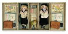 The Memory of All That - Marquis Antique Doll Auction: 42 Original Presentation Box with School Children and School Accessories
