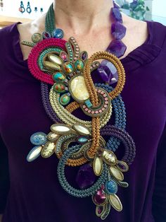 Statement necklace in fall colors by Dori Csengeri.
