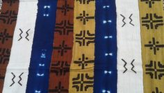 "Multi-colored, African Mud Cloth Fabric with Indigo, Mustard, Brown & Natural strips - African Bogolanfini - Approx. 60"" x 40"" by AroundTheWorldWear on Etsy"