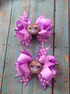 Sofia the First Inspired Boutique Hair Bows by RamblinRoseBoutique, $10.00