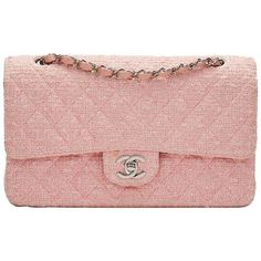 Preowned 2000s Chanel Pink Quilted Tweed Medium Classic Double Flap... ($3,303) ❤ liked on Polyvore featuring bags, handbags, pink, structured shoulder bags, chanel, pink quilted purse, pink quilted handbag, quilted handbags and pink purse