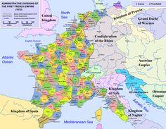 Les départements de France sous Napoléon en 1812