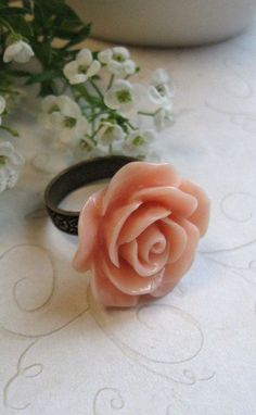 Peach rose ring brass embossed pattern
