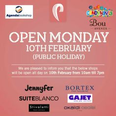 We are open today! Enjoy a great shopping spree on your day off at The Plaza Shopping Centre