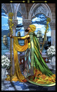Two of wands - Tarot Illuminati - there is a balanced power of fire in you. make plans and be lovingly patient.
