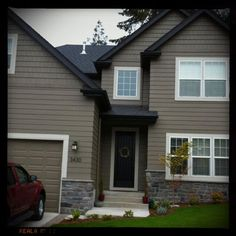 Modern Exterior Design Ideas | White trim, Paint ideas and Dark grey