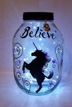 Hand painted #Unicorn candle holder, #lantern, light jar, night light, wedding centrepiece, MADE TO ORDER. by melOnDesign on Etsy