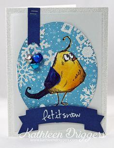 Crazy Bird Let It Snow Card