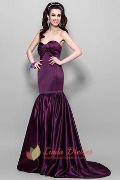 Elegant Dark Eggplant Purple Mermaid Prom Dress