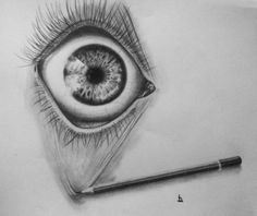 Open your eye! Interesting design with the pencil pulling at the eye lid, but it's very realistic
