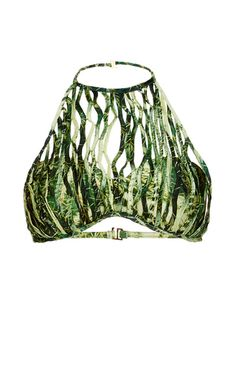 This halter **Agua de Coco** bikini top features an allover cactus print with a netted overlay and a bandeau design.