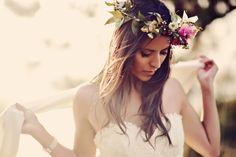 #hairstyles, #halo-wreath, #flower-crown  Photography: Tamiz Photography - tamizphotography.com  Read More: http://www.stylemepretty.com/2014/08/29/boho-chic-maui-wedding/