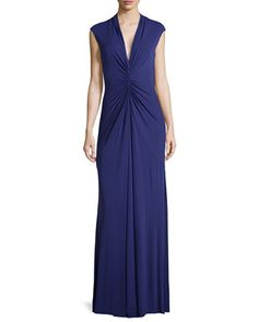 Gathered V-Neck Gown, Ink  by Nicole Miller at Neiman Marcus.