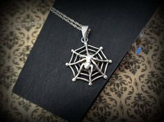 spider sterling necklace. punk, goth, alternative,retro, psychobilly jewelry