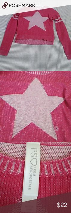 GIRL'S HOT PINK STAR SWEATER Comfortable, long sleeved and hot pink original price is unknown this was too small for my daughter make an offer! THIS IS MARKED AS NWT BECAUSE IT DIDN'T ARRIVED WITH TAGS Aeropostale Shirts & Tops Sweaters
