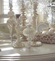Table Decor in creams and silver