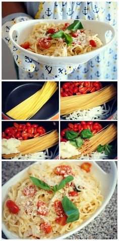 Easy One Pot Meal - Just throw pasta, cherry tomatoes, sliced onion, garlic, basil, and fresh cracked pepper into a pot, and boil.