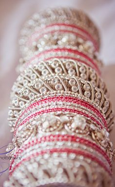 Indian and Chinese Wedding Inspiration; Pink, Red and Orange Indian Wedding Bangles Indian wedding accessories fashion bride ideas inspiration Big Fat Indian Wedding, Indian Wedding Jewelry, Indian Bridal, Wedding Chinese, Indian Weddings, Indian Accessories, Bridal Accessories, Bridal Bangles, Bridal Jewelry