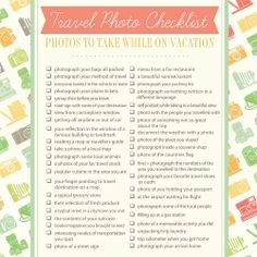 Use this printable checklist of photo ideas to document your next trip in photos.