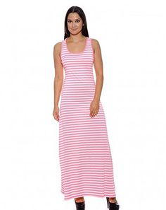 Enimay Womens Colored Stripe Short Summer Swing Dress Sleeveless Racerback Pink White Medium *** To view further for this item, visit the image link.
