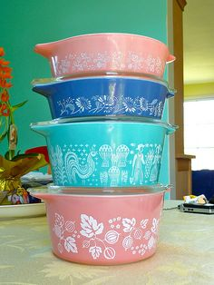 Finally Pink and Turquoise Pyrex..M.Taylor: I have the turquoise one and it's my favorite casserole to use! The heck with putting it on a shelf for decoration only! I have the matching smaller one too!