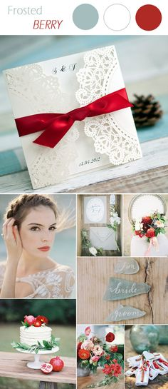 berry red and jade wedding color ideas and laser cut wedding invitations