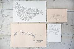 I love the calligraphy and the use of space on all the collateral.  Oh So Beautiful Paper: Best of 2010 Wedding Invitations: Calligraphy + Blind Impression Maps