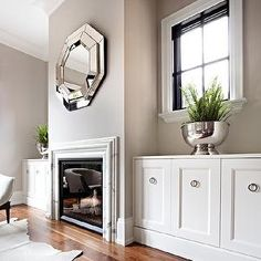 Mirror over Fireplace, Transitional, living room, The Design Company
