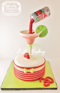 "Floating ""Straw-Ber-Rita"" beer can cake - I've seen so many of these photos on google but I really needed one with a more feminine twist. So I came up with this one pouring into a gumpaste margarita glass. I didn't have any special molds so I just used a real margarita glass as my mold. The can is real but everything else is edible.  A big thank you to Jessica Harris and her craftsy class ""clean and simple cake design."" I couldn't have done the horizontal stripes without it!!"