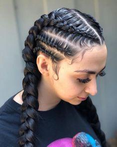 # dutch Braids with weave Hairdo For Long Hair, Easy Hairstyles For Long Hair, French Braid Hairstyles, Kids Braided Hairstyles, Natural Hair Styles, Long Hair Styles, Hair Braiding Styles, Baddie Hairstyles, Fashion Hairstyles