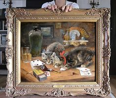 Beautiful fine 19th #century oil #painting of cats; kittens at #play. superb work,  View more on the LINK: 	http://www.zeppy.io/product/gb/2/231678717171/