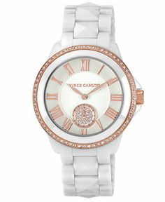 Vince Camuto Watch, Women's White Ceramic Bracelet 38mm VC-5056RGWT - Women's Watches - Jewelry & Watches - Macy's