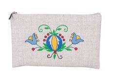 Lniana kosmetyczka - haft kaszubski - duże kwiatki
