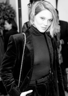 Léa Seydoux photographed by Romain Mayoussier for Vogue.fr at the Roger Vivier Prismick Denim Party on March 7, 2016 in Paris, France.