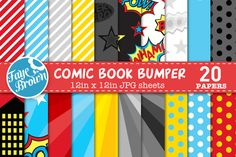 Comic book digital scrapbook paper by Faye Brown Designs on Creative Market