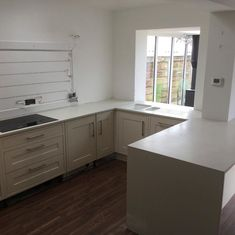 Crushed Cotton Apollo Slab Tech fitted by Midland Worktop Fitters via Instagram Solid Surface, Work Tops, Apollo, Crushes, Kitchens, Kitchen Cabinets, Tech, Cotton, Instagram