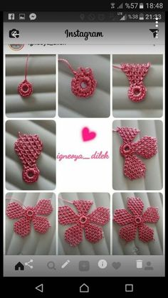 This Pin was discovered by Ayş Crochet Flower Tutorial, Crochet Flower Patterns, Crochet Motif, Crochet Flowers, Needle Tatting Patterns, Embroidery Stitches Tutorial, Ribbon Embroidery, Diy Crafts Crochet, Yarn Crafts