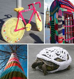 "51 examples of ""yarn bombing"" --someone even made a red cardigan for Mr. Rogers' statue!"