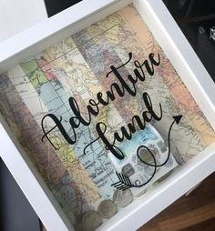 Items similar to Adventure Fund money box frame - Can be personalised - holiday, wedding, new home etc on Etsy - Earn Money Travel Shadow Boxes, Diy Shadow Box, Regalos Star Wars, Bff Christmas Gifts, Diys, Craft Projects, Projects To Try, Money Box, Money Frame