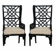 Bamboo wingback chairs, available in a variety of finishes...for only $1,400...HA.  Would definitely have to be a flea market find.