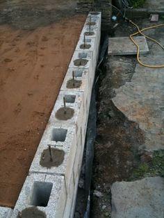 mccarte: Build shed breeze block – Breeze Blocks Concrete Block Retaining Wall, Concrete Block Walls, Cinder Block Walls, Landscaping Retaining Walls, Pouring Concrete Slab, Gate Wall Design, Privacy Fence Designs, Cement Garden, Backyard Pavilion
